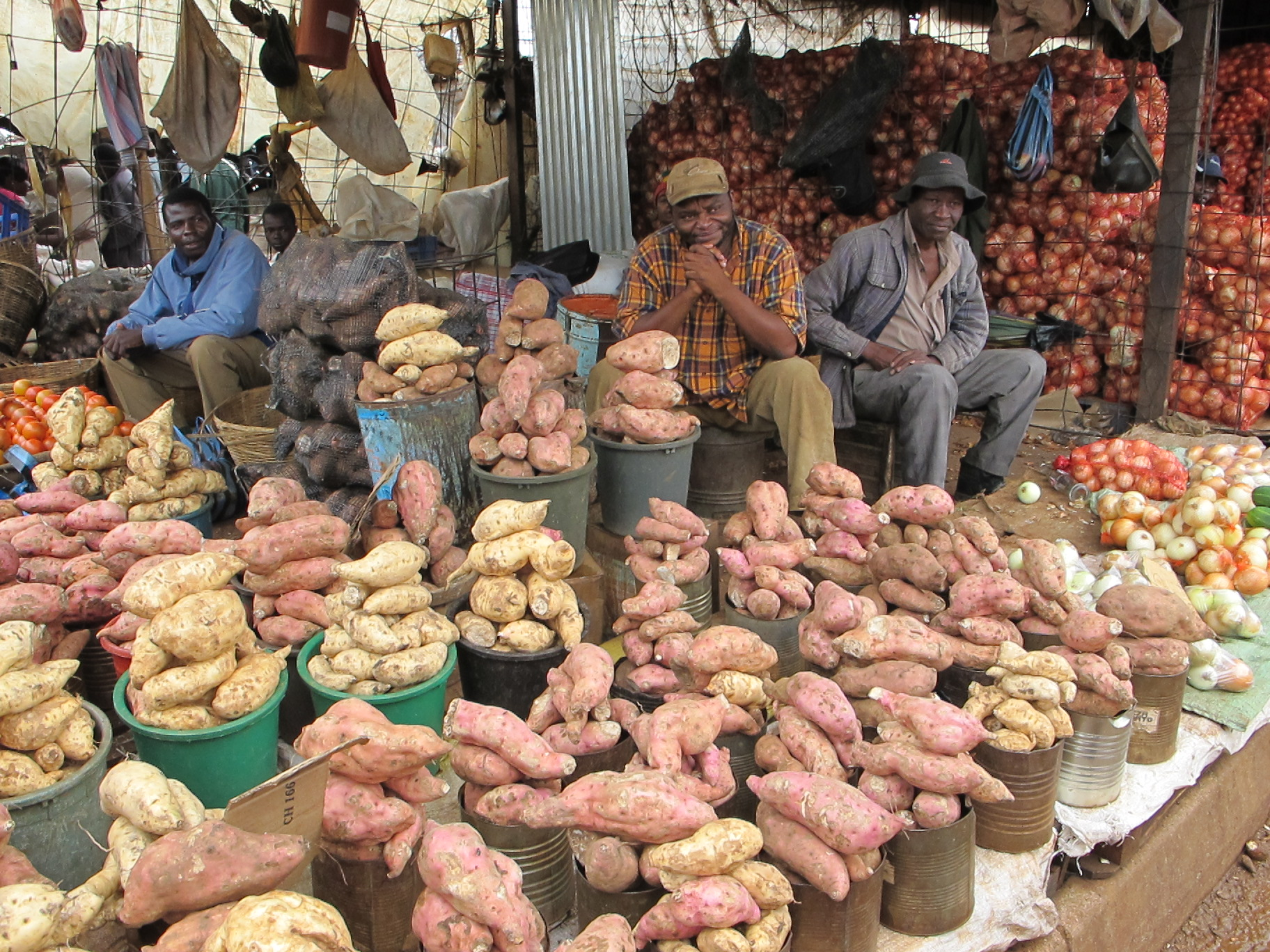 Market Day in Zimbabwe, yes I purchased such a potato - apparently they are eco.